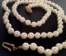VINTAGE - HIGH END KNOTTED GLASS WHITE PEARL NECKLACE