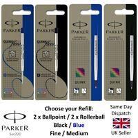 Genuine Parker Medium Fine Ball point Pen or Rollerball Refill - Blue Black x2