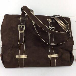Bath & Body Works Brown Suede Gold Accents Large Handbag Purse