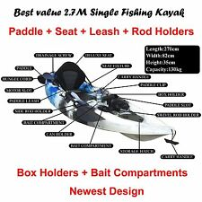 2.7M Fishing Kayak Single Sit-on Kayak 5 Rod Holders Seat Paddle blue Black Whit