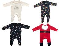 Ex Mothercare Christmas Babygrows Baby Boy Girl Festive Print Cotton Sleepsuits