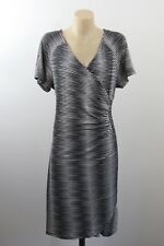 NWT Size L 14 Ladies Black Dress Business Cocktail Chic Mock Wrap Stretch Design