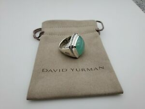 David Yurman Albion Ring with Chalcedony 20x20mm Size 8