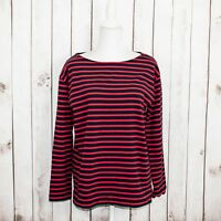 EVERLANE Women's Long Sleeve Crew Tee Shirt Red Navy Striped Sz Large