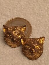 2 BUTTON 2 CHARMANT BOUTON RENARD FOX VOLPE ZORRO BRONZ DORÉ 1900 COLLECTION 2cm