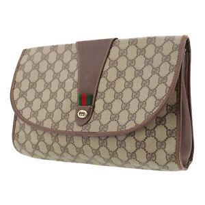 GUCCI GG Plus Web Stripe Clutch Bag Brown PVC Leather Vintage Italy Auth #UU14 Y