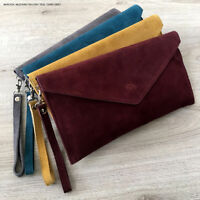 Maroon Wedding Clutch Bag Evening Bag Oversize Envelope Suede Prom Made in Italy
