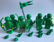 Lego parts design - 6 SWAMP SOLDIERS + 9 frogs - green army - custom weapon