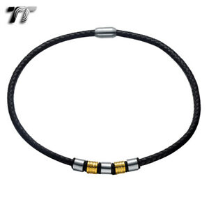 TT 6mm Black Leather S.Steel Two Tone Bead Magnet Buckle Collar Necklace (CL10)