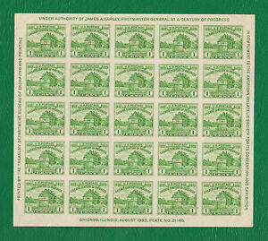 SCOTT # 730 Restoration of Fort Dearborn United States Stamps MINT - Sheet of 25