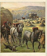 DRAFT HORSES PULLING HAY WAGONS COLLIE DOG HARVESTING HARVEST ANTIQUE PRINT 1870