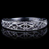 Filigree Vintage Simple Band 925 Sterling Silver Wedding Fine Ring Without Stone