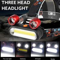 15000LM 2 x XM-L T6 LED 1xCOB Rechargeable 18650 Headlamp Head Light Torch Set L