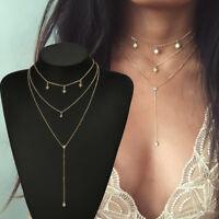 Fashion Women Crystal Three-Layer Choker Collar Pendant Chain Necklace Jewelry