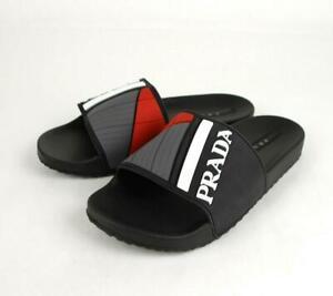 Prada Men's Black/Gray/Red Rubber Slide Sandal UK 8/US 9 (L) and UK 9/US 10 (R)
