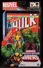 "2012 HASBRO MARVEL UNIVERSE COMIC 2-PACK WOLVERINE & HULK 4"" ACTION FIGURES MOC"