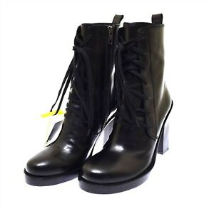 Ann Demeulemeester Black Leather Lace Up Women's Boots High Heel 40 US 10 NEW