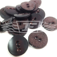 PACK OF 10 28mm BROWN TEXTURED PLASTIC BUTTON BUTTONS 2 HOLE SEWING BTN 18195-44