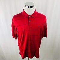 Polo Golf Ralph Lauren 100% Pima Cotton Red Striped Polo Shirt Mens Medium M