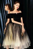 Chic Off-shoulder Paillette Tulle Mini Gown Party Prom Cocktail Prom Dresses