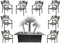 Fire Pit Propane Set Patio Furniture 8 Palm Tree Dining Chairs Sunbrella Cushion