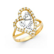 I Love You Heart Ring 14k Yellow Gold Love Band CZ Curve Promise Ring Fancy