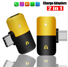Mini 2in1 Type-C USB C to 3.5mm Headphone Aux Jack Adapter Splitter Converter