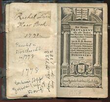 1778 Bible-Dutch New York-WESTERVELT/ DURIE/ZABRISKIE Family History/Genealogy