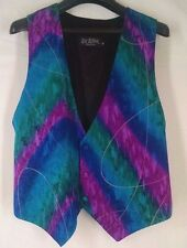 LUXURIOUS Silk Bijoux Womens Hand Painted Vest Aqua Pink Gold Blue Sz Sm