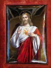 French 19th Century Enamel Jesus Christ Flaming Passion Sacred Heart Painting !