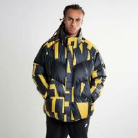 Nike NSW Down Fill Mens Jacket Print Yellow Ochre & Black Loose fit Size S, M