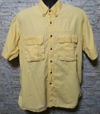 Camel Trophy Adventure Wear Mens Safari Cargo Short Sleeve Yellow Shirt Size XXL