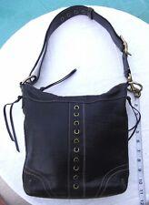 COACH 10399 Black Pebbled Leather Shoulder Bag Handbag-Authentic.
