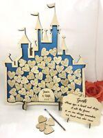 Fairy Castle Cinderella Metallic Blue Wedding drop box alternative guest book