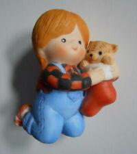 Vintage 1985 Country Cousin Katy Christmas Stocking Kitten Enesco Figurine Katie