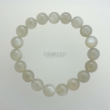 Gray Moonstone Round Beads/Stretch Bracelet ap.10mm Silver Flash #19429