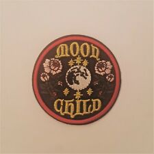 """Moon Child """"Flowers and Moon"""" 3"""" Embroidered Iron on/ Sew on Patch"""
