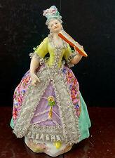 Volkstedt Christian Nonne Frau mit Fächer Antike Porzellan Figur sammlerstück