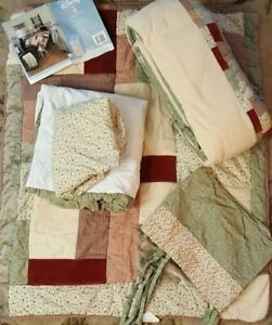 Classic Pooh Crib Bedding Set Vintage Patch 5 Pc Red Green Patchwork Curtain