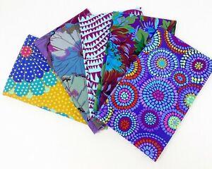 """KAFFE FASSETT Fabric Bundle 5 pc """"Purples"""" 1/2  yd  Bundle Cotton Fabric"""