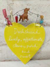 Dept 56  Dachshund Ceramic Plaque Heart Art Sandra Magsamen Yellow weiner dog