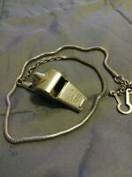 "Vintage ""The ACME Thunderer"" Whistle With Silver Chain & Clip Made In England"