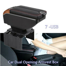 7-USB PU leather Car Dual Opening Armrest Box Central Console Cup Holder Storage