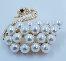 Gold coloured Glass Pearl bead Cute Swan Matte Brooch - JTY824