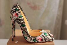 NEW CHRISTIAN LOUBOUTIN So Kate 120 Python Flower Multi Snake Heels Pump Shoe 37