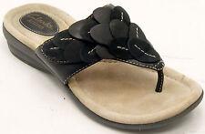 Clarks Reid Ricki Thong Women's Black Leather Sandals Sz 6.5 M