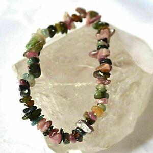 Watermelon Tourmaline Stretchy Bracelet Natural Crystal Chip~Reiki, Protection