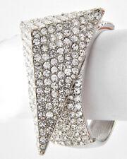 HUGE GLAM Silver Statement Pave Crystal Cocktail Bangle Bracelet Rocks Boutique