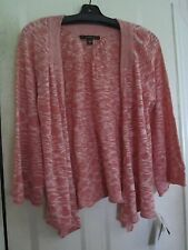 NWT Nice Fever Coral Blush Open Cardigan Sweater W/ Long Front Points