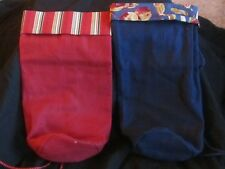 (2) Cloth Canvas Wine bottle gift bags. Navy Blue and Burgandy!